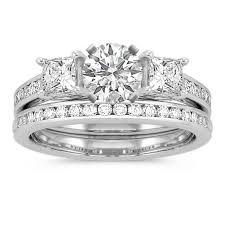 princess cut wedding set three princess cut and diamond cathedral wedding set