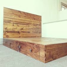 wonderful rustic finish platform bed pertaining to frame