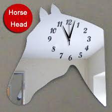 horse head modern design creative 3d wall clock large home decor