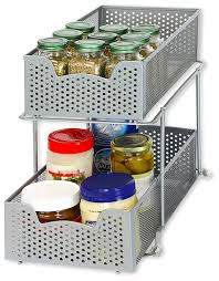 shop amazon com pull out organizers simplehouseware 2 tier sliding cabinet basket organizer drawer silver