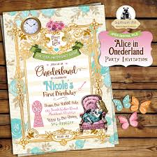 Free Invitation Birthday Cards Alice In Onederland Invitation Alice In Wonderland