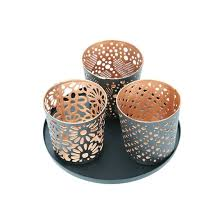 metal tea light holders metal tealight holder set with tray 3 pack