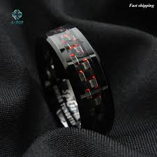 free wedding band men s tungsten ring with carbon fiber 8mm black and men s
