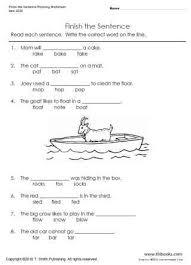 finish the sentence rhyming worksheet tlsbooks