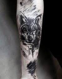 sketched wolf watercolor forearm tattoos for men tattoos wolf