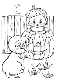 halloween cats coloring page for kids printable free happy
