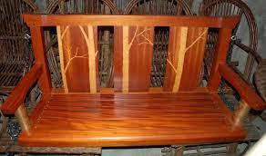 hand made adirondack style inlaid mahogany porch swing by