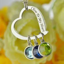 engraved jewelry personalized jewelry silver heart birthstone necklace to