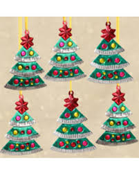 bargains on tin ornaments trees set of 6 mexico