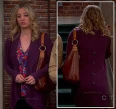 penny u0027s purple ribbed cardigan with buttons down the back on the