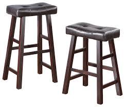 Bar Stool Sets Of 2 Faux Leather Saddle Seat Stools Set Of 2 Traditional Bar