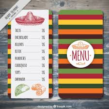 colorful mexican menu template vector free download