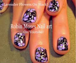 nail art tutorial for short nails lavender flowers on black diy