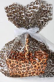 leopard plastic cellophane basket gift wrap bag easter gift