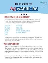 Resumes Online For Employers by Ag Warriors Jobs For Veterans Agcareers Com