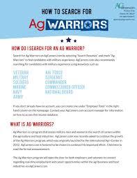 Military Experience Resume Ag Warriors Jobs For Veterans Agcareers Com
