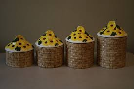 vintage ceramic sunflower kitchen canister set 4 pieces u2022 39 99