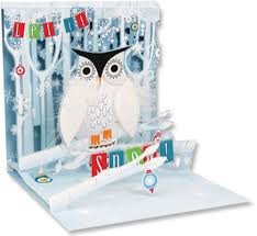 snowy owl pop up christmas card by up with paper