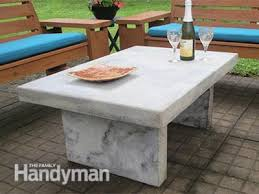 Building A Patio Table Build An Outdoor Table With Quikrete Countertop Mix Family Handyman
