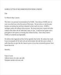 reference letters for friend