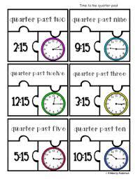 time puzzles time to the hour half hour quarter to quarter