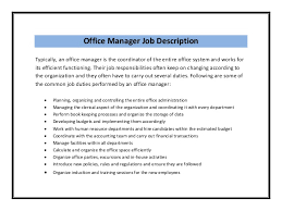 Job Responsibilities Resume by Office Manager Duties Resume Recentresumes Com