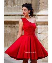new arrival 2016 cheap short formal party gowns one shoulder red
