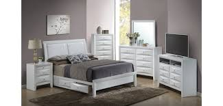 white storage bedroom set g1570d with leather headboard