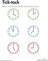 time to tell time 1st grade worksheets education com