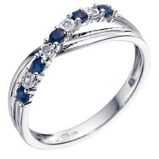 saphire rings 9ct white gold sapphire diamond crossover ring h samuel