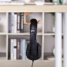 wooden dual adhesive mount headphone stand hooks under desk hanger