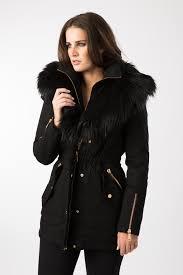 am london la s black faux fur trim parka coat ebay