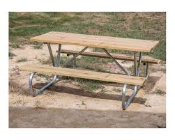 Galvanized Outdoor Chairs 8 Ft Wooden Picnic Table With Heavy Duty Welded Galvanized Steel