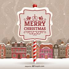 merry christmas card with urban landscape vector free vector