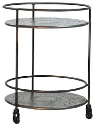 Round Coffee Table With Shelf Round Metal Side Table With Shelf On Casters Eclectic Side