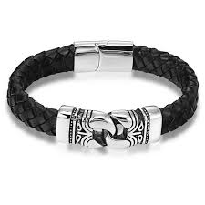 leather stainless steel bracelet images Antique genuine leather stainless steel bracelet macbarneys jpg
