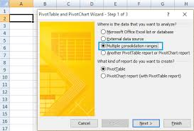 how to create pivot table from multiple worksheets