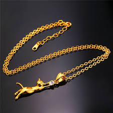 wholesale animal necklace images U7 cute cat necklace pendant for women gift rhodium gold plated jpg