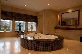 natural style spa bathroom decor with unique stone wall and bowl