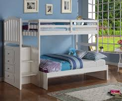 Donco Arch Twin Over Full Stair Stepper Bunk Bed White Bedroom - Stairway bunk bed twin over full