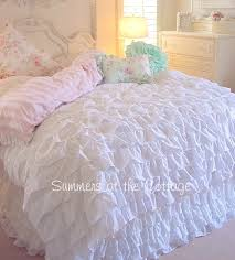 queen beach cottage chic dreamy white ruffles comforter set