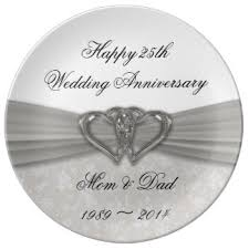 silver wedding plates 25th anniversary plates zazzle