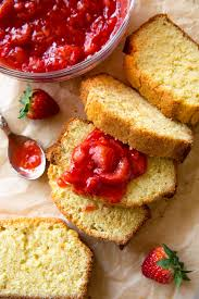 cake top brown butter pound cake with strawberry compote sallys baking