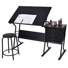 White Drafting Table Costway Rakuten Costway Drafting Table Adjustable Drawing Desk