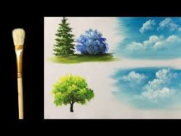 fan brush oil painting how to paint trees with fan brush acrylic lesson youtube