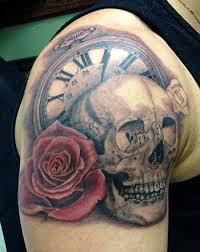 boston rogoz tattoos flower skull with and clock