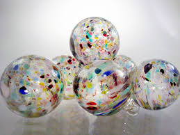 speckled ornaments set of 6 end of day multi colored sun