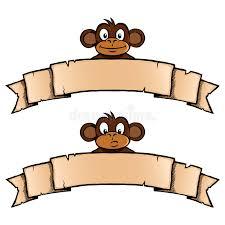 monkey ribbon monkey with ribbon banner royalty free stock image image 33026146