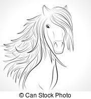 vector clipart of horse sketch with floral ornament for your