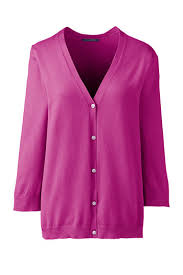 purple cardigan sweater s 3 4 sleeve performance cardigan sweater from lands end